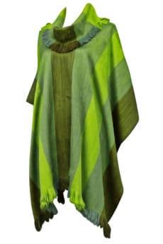 Fairtrade Alpacaponcho med krave groenne striber